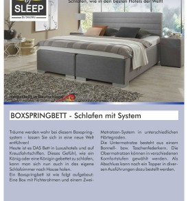 Typenplan Seite 1 - Boxspringbettsystem Osterburg - Das System - Osterburg Matratzen