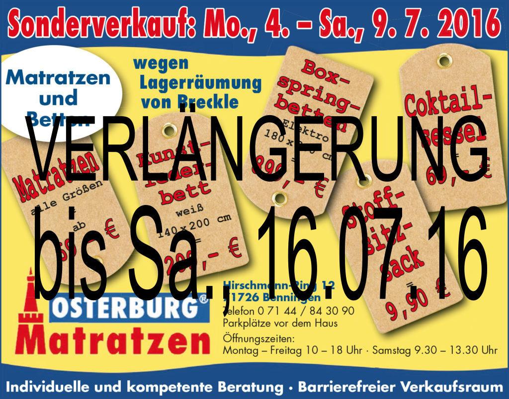 Sonderverkauf Benningen - Verlängerung