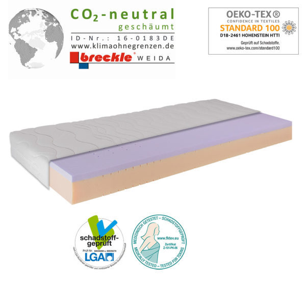Matratze Breckle Wellness Gel CO2-neutral geschäumt